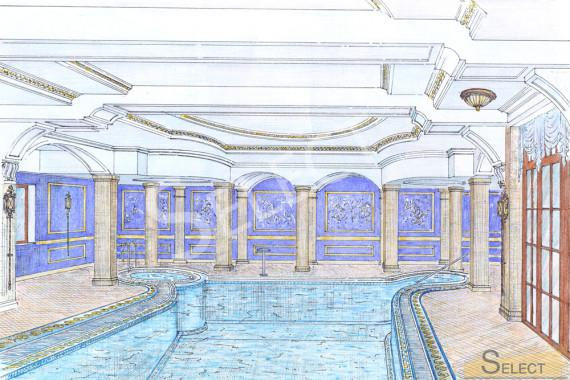 Эскиз визуализация бассейна в карандаше