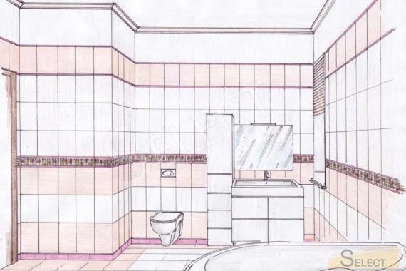 Дизайн рисунок ручная визуализация детского санузел в загородном коттедже