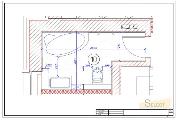 Plan of a children's bathroom in a country house