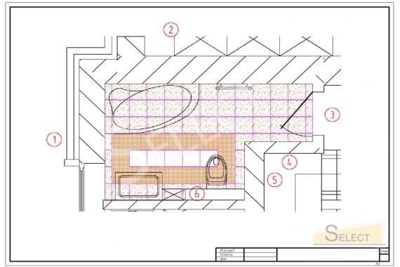 Рисунок укладки плитки в детском санузле хозяина ресторана