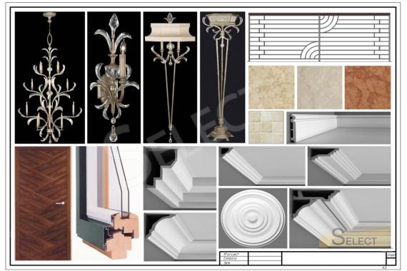 Комплектация гостиной предметами интерьера, люстра, бра, окна, багет