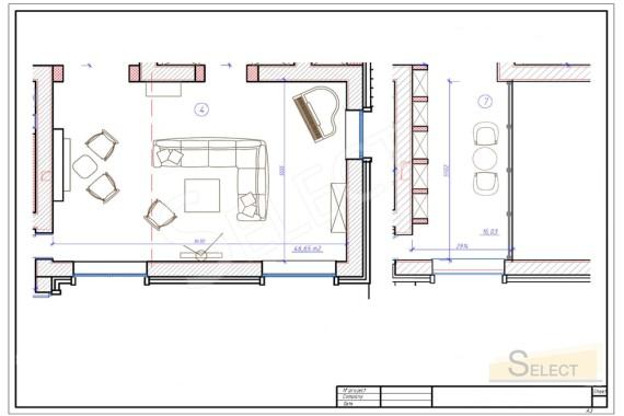 План размещения Итальянской мебели в светлой гостиной первого этажа