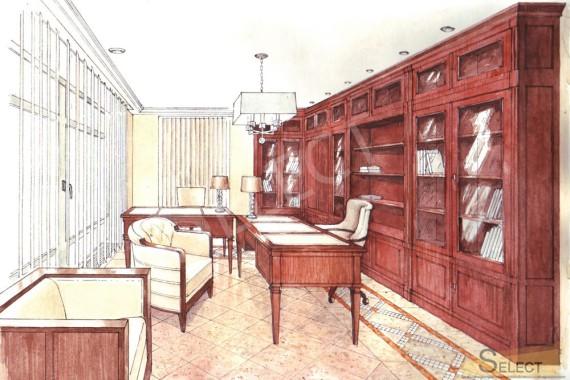 Ручная визуализация. дизайн кабинета в загородном доме
