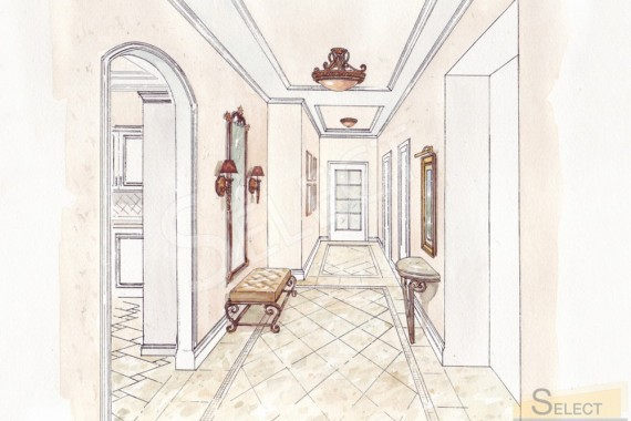 Design of an ordinary corridor in an apartment in a sophisticated classic style