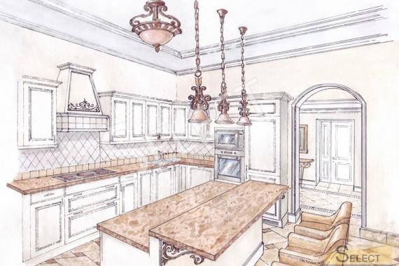 Дизайн кухни с барной стойкой в классическом стиле
