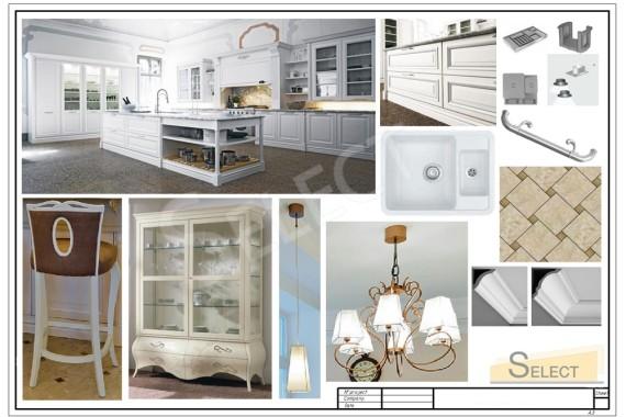 Комплектация дизайна кухни Cesar с барной стойкой в классическом стиле освещение Arte nel Tempo, Evi Style, Мебель – Stilema, Pregno