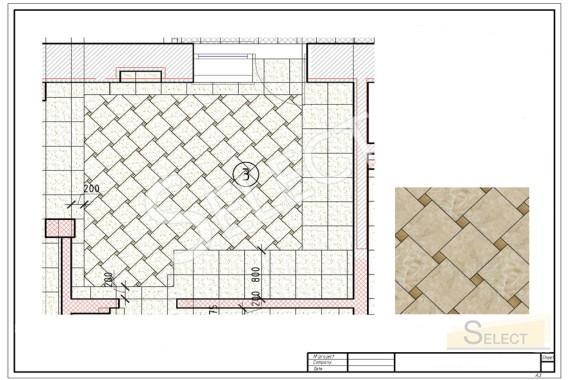 План укладки натурального мрамора – I Conci, Santa Margherita с рисунком на кухне с барной стойкой в классическом стиле
