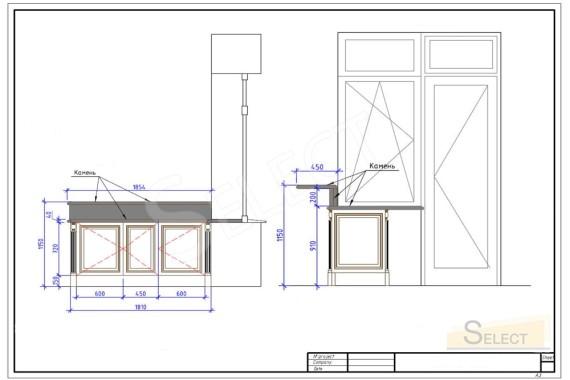 Разрез стен с окном кухни с барной стойкой в классическом стиле