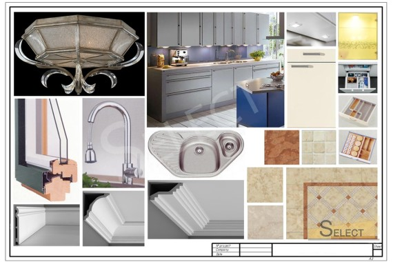 Photo of lighting components and plumbing furniture in cream color