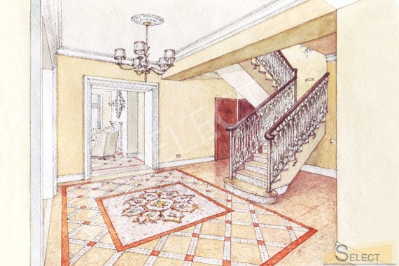 Design hand rendering Staircase hall with mosaic panels