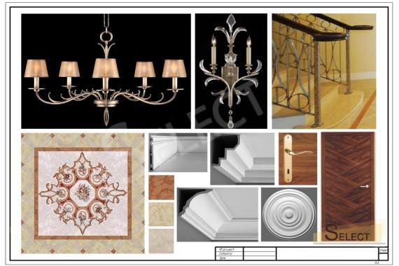 Комплектация лестничного холла в доме с мозаичной мраморной раскладкой