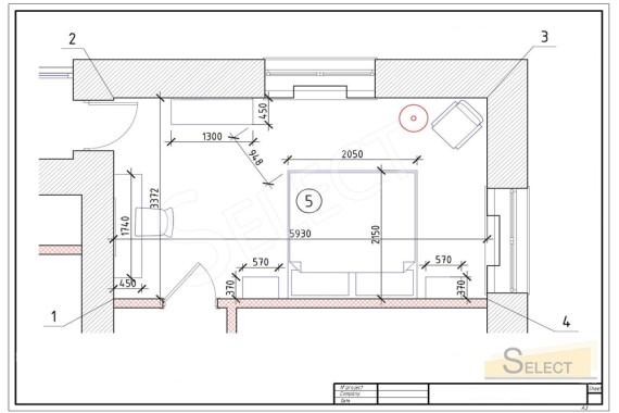План размещения мебели Stilema, Interstyle, Pregno в спальне в теплых пастельных тонах