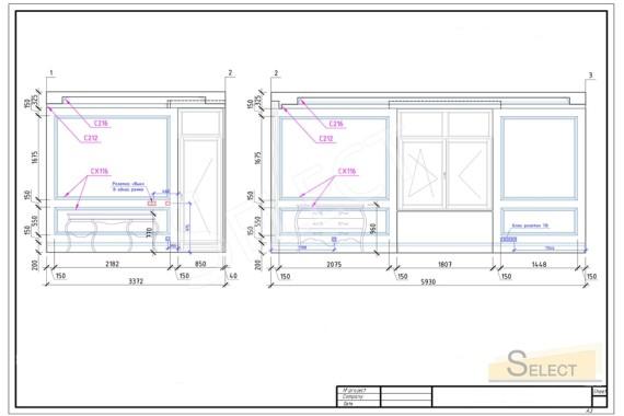 План чертеж развертки стен в спальне в теплых пастельных тонах