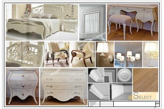 Комплектация мебелью Stilema, Interstyle, Pregno и освещением Quoizel, Lucienne Monique спальни в теплых пастельных тонах