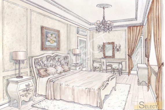 Bedroom design in warm pastel colors