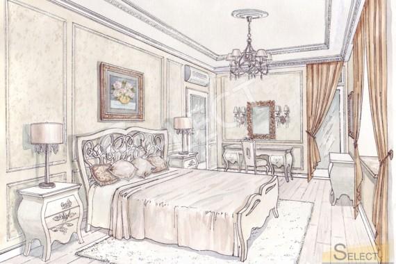 Дизайн спальни в теплых пастельных тонах