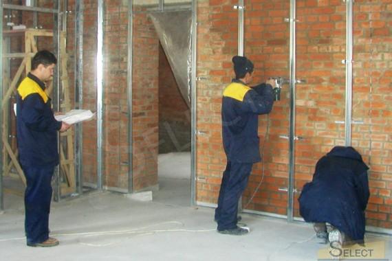 Установка гипсокарптона, выравнивание стен