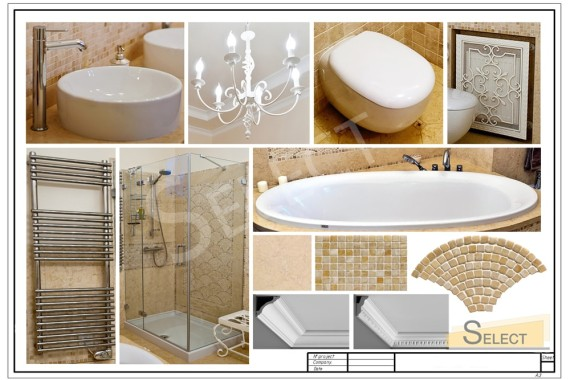Photo of a complete set of a bathroom in the apartment: Shower - Megius, Bathroom - Albatros, Lighting - Savoy House, Mirror - Valenti