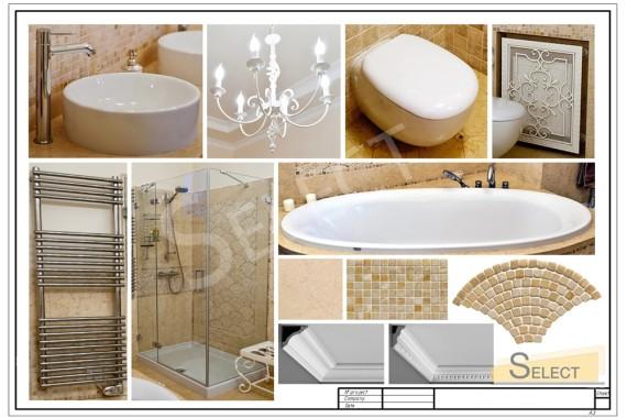 Фото комплектации санузла в квартире: Душевая кабина – Megius, Ванная – Albatros, Освещение – Savoy House, Зеркало – Valenti