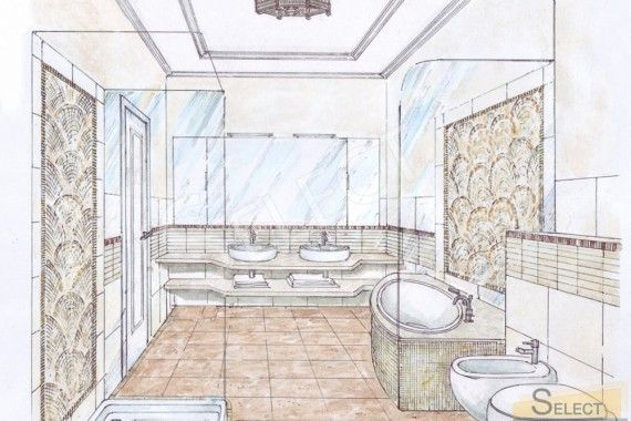 Design project of a combined bathroom in an apartment Natural marble and marble mosaic - I Conci, Bemarsa