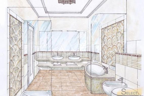 Дизайн проект совмещенного санузла в квартире Натуральный мрамор и мраморная мозаика – I Conci, Bemarsa