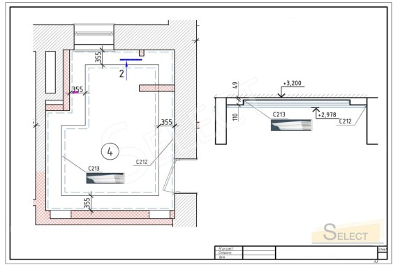 Ceiling plastics placement plan. A baguette on a multi-level bathroom ceiling in an elegant classic style apartment