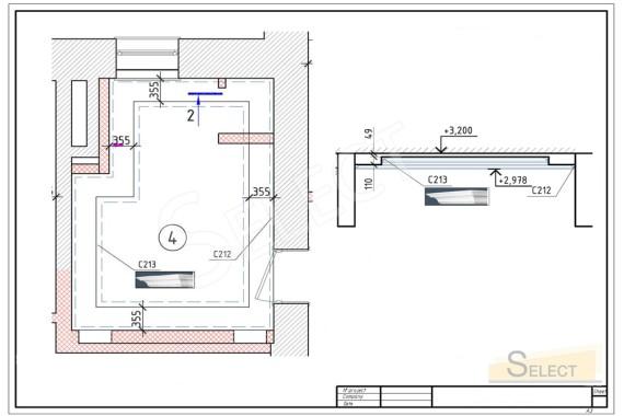 План размещения Пластики потолка. Багет на многоуровневом потолке санузла в квартирев изысканном классическом стиле