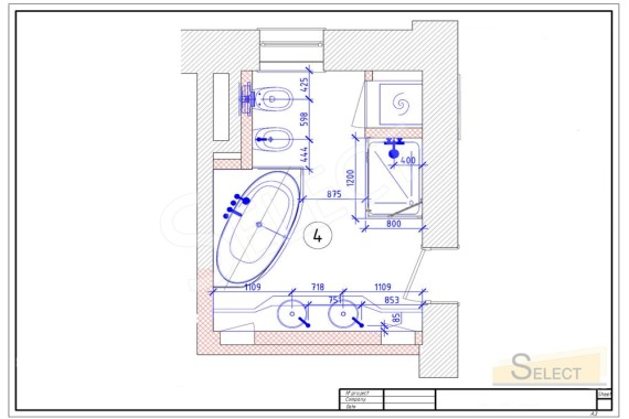 Installation plan for trouble and a bath in a combined bathroom of an apartment in a multi-storey building