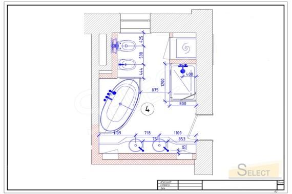 План установки беде и ванны в совмещенном санузле квартиры многоэтажного дома