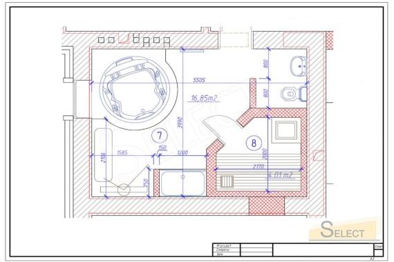 план установки сауны в Велнес зона в загородном коттедже