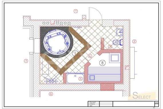 План укладки плитки в Велнес зона в загородном коттедже