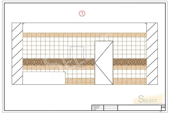 Tile laying pattern with reference to materials