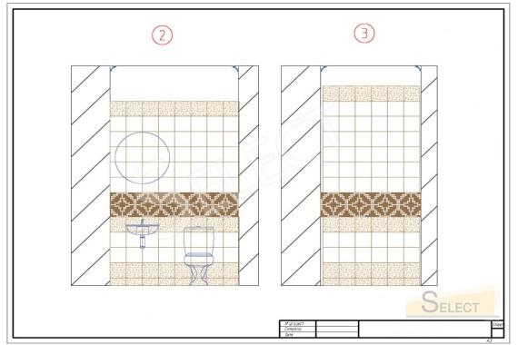рисунок укладки плитки с привязкой к материалам стиена с умівальником