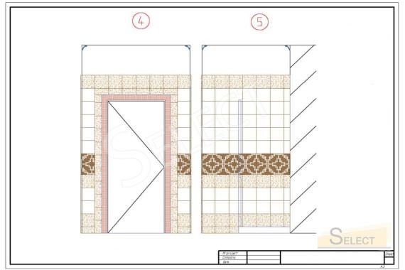 рисунок укладки плитки с привязкой к материалам стена с дверью