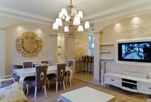 Фото ремонта в гостинной - столовая в Подмосковье