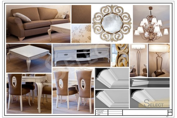 Photo of a complete set of interior items and decor for the living room - dining room in the white tons of Moscow region