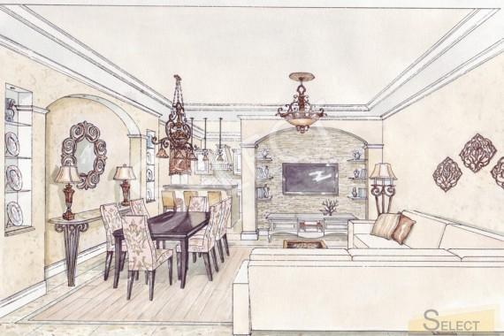 Фото дизайна в гостинной - столовая в Подмосковье