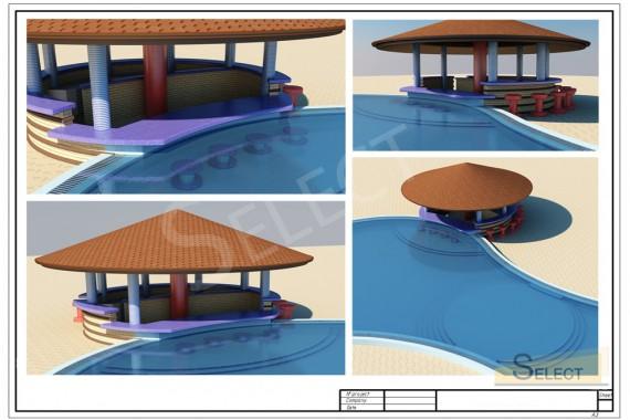 Дизайн 3D беседки у бассейна в развлекательном комплексе