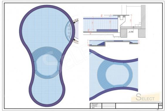 План бассейна с привязкой к материалам и рисунка укладки мозаики и керамической плитки Bisazza, Appiani, Baldocer