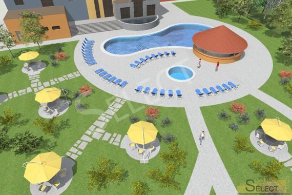 3D План бассейна в развлекательном комплексе с планом мебели и растений
