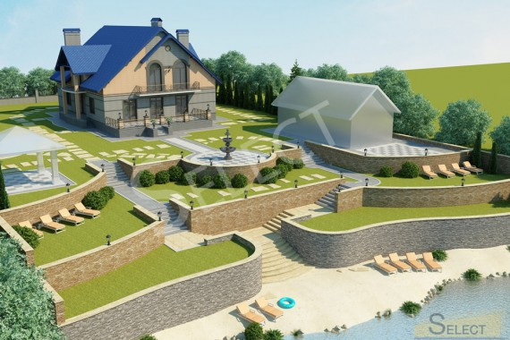 3D visualization of landscape improvement of the territory of a country cottage