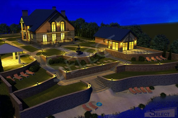 3D night visualization of landscape improvement of the territory of a country cottage