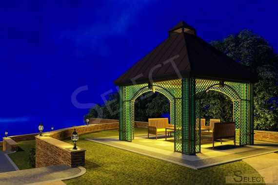 Landscape design of the territory night view of a country cottage