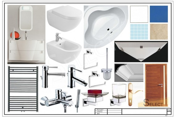 Complete set with plumbing fixtures and accessories for a children's bathroom
