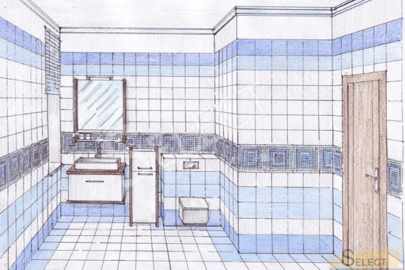 Design hand-drawn children's bathroom in a country house