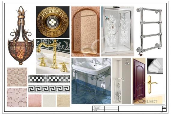 Комплектация душевой комнаты (Зеркало – Marioni, Полотенцесушитель – Vogue, Смесители, аксессуары – Burlington Bathrooms)