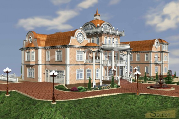 Side view 3D rendering of the villa