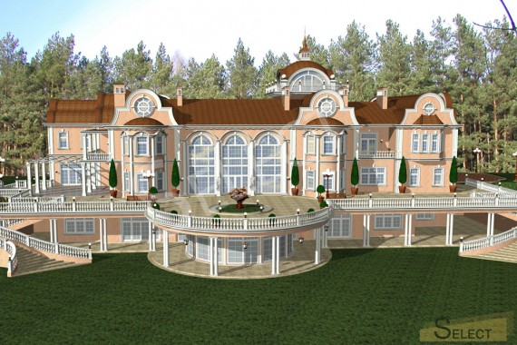 3D rendering of the villa top view at an angle of 30 degrees