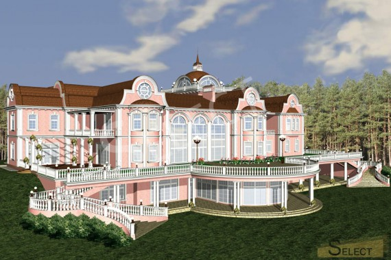 Side 3D rendering of the villa with reference to color and materials