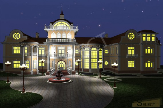 Night 3D rendering of the villa